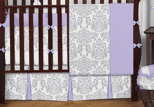 Sweet Jojo Designs 9-Piece Lavender, Gray and White Elizabeth Damask Print Baby Bedding Collection Girl Crib Set