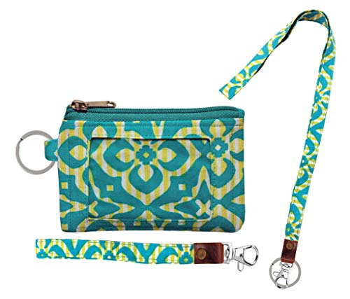 Zip ID Case, Lanyard & Wrist-let/Key Wallet/Credit Card Case Coins Purse with ID Window, Lanyard & Wrist-let (Modern Green)