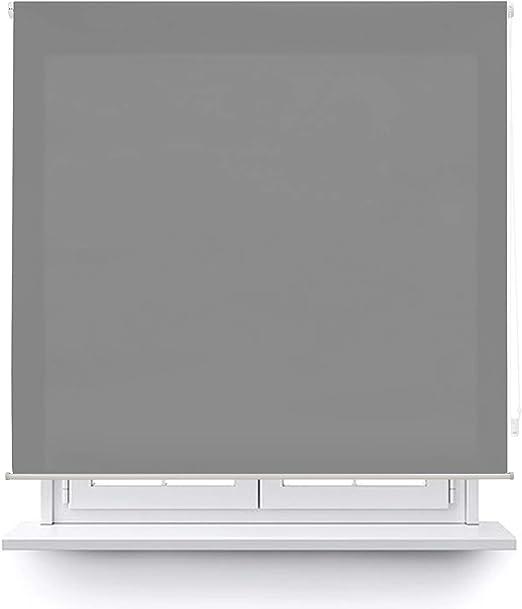 MERCURY TEXTIL Estor Enrollable translúcido Liso (Gris, 100x180cm ...