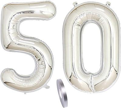 """2 Globos Número 50, Number 50 Decoración de Cumpleaños de Silver Girl, 40"""" Globo Inflable de Plata, Figuras de Globos de Helio Gigantes, Decoración para Fiestas, Día de San Valentín (xxxl 100cm)"""