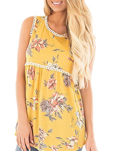 YOUCOO Women's Summer Floral Tank Tops Sleeveless Casual Shirt Blouses, Yellow, ()