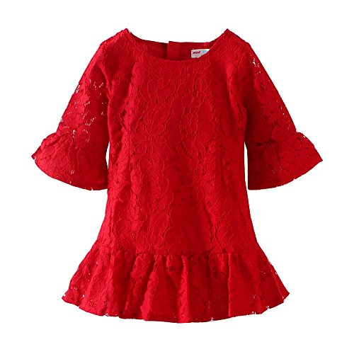 Mud Kingdom Bright Red Lace Little Girl