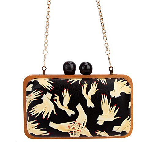 For Hand Frame Pattern Leather Purses Bonjanvye Black Evening Clutch Wood Women wYqZnq67x