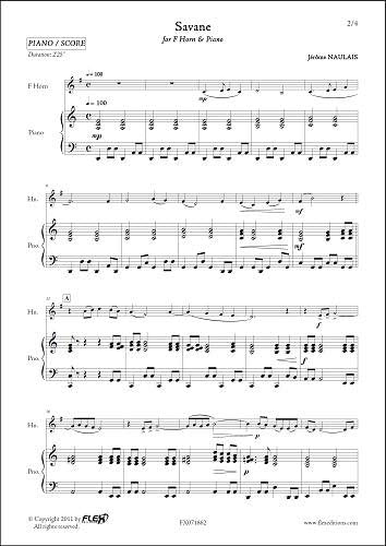 PARTITURA CLASICA - Savane - J. NAULAIS - F Horn & Piano: NAULAIS ...