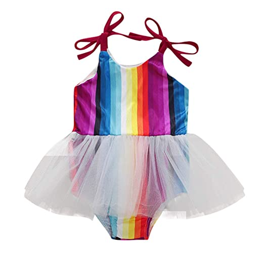 67f022b1a Amazon.com: Newborn Kids Baby Girls Romper Multicolor Striped Sling Tulle  Tutu Skirt Bodysuit: Clothing