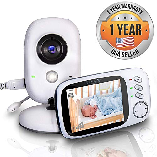 """(Video Baby Monitor Long Range - Upgraded 850' Wireless Range,  Night Vision, Temperature Monitoring and Portable 2"""" Color Screen - Serenelife USA SLBCAM20)"""