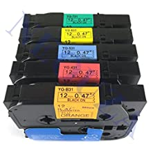 "5PK Compatible For Brother P-Touch Laminated Tze Tz Label Tape Cartridge 12mm x 8m (Set of 5 Different Colors 0.47"" x 26')"
