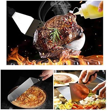 HNFGH Outils de Barbecue en Acier Inoxydable 12 pcs Set Barbecue Grill Ustensile Accessoires Camping Outils de Cuisine en Plein air Kit Teppanyaki Spatule