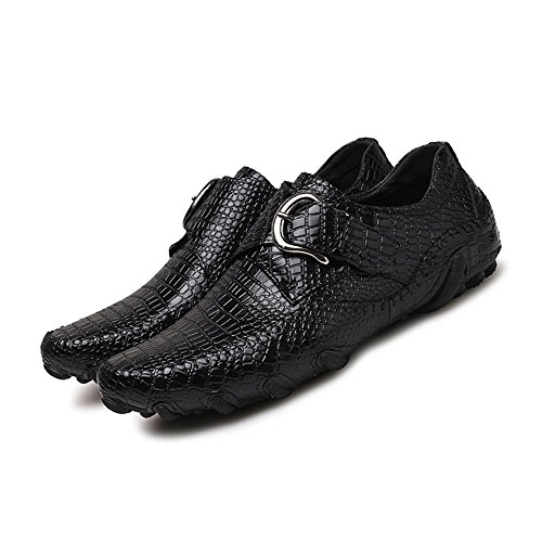 crocodile casual mocassini Shufang shoes fibbia ballerine striped mocassino guida Brown 2018 metallo Nero stile in vera 9 barca scarpe uomo Jumbo nbsp;uomo mocassini nuovo pelle wzIrdnOZqz
