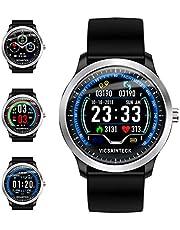 Vicsainteck Fitness Tracker, Smartwatch Android iOS Smart Watch Fitness Intelligente Uomo Donna Bluetooth Sport Pedometro Cardiofrequenzimetro 1,22 Pollice Colori Impermeabile