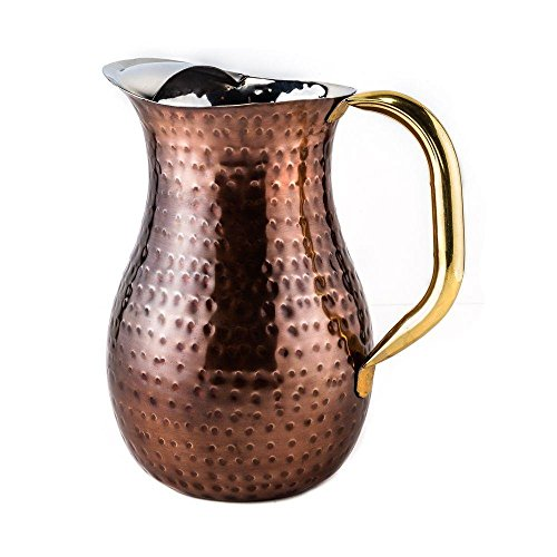 - 2.25 qt. Decor Antique Copper Hammered Water Pitcher, Brass Ice Guard and Handle