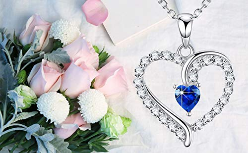September Birthstone ❤️ You are The Only One ❤️ Love Heart Pendant Necklace for Wife Created Blue Sapphire Fine Jewelry Birthday for Women Her Girlfriend Daughter Sterling Silver by Dorella (Image #2)