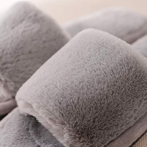 Wanrane Indoor Cozy Warm Slippers Thick Winter Indoor and Outdoor Home Warm Cotton Slippers Fashion Japanese and Korean Plush Winter Slippers Color : Grey, Size : 1