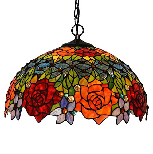 QREZ 18 inch Tiffany style chandelier/rose warm decorative color glass hanging lights Pendant Light (Pendant Light Rose Glass)