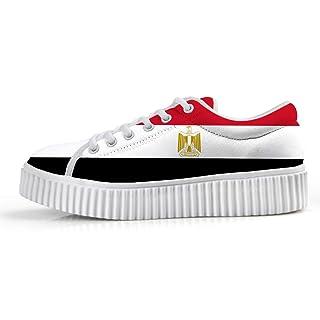 Owaheson Platform Lace up Sneaker Casual Chunky Walking Shoe Women Egypt Flag