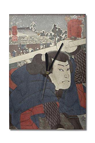Lantern Press Actor Miyamoto Musashi Japanese Wood-Cut Print (10x15 Wood Wall Clock, Decor Ready to Hang)