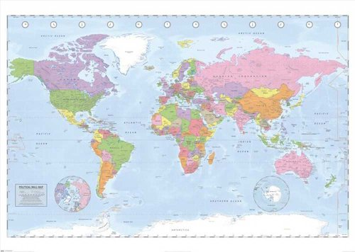 Country Flags Timezones Giant Poster 100cm X 140cm World Map