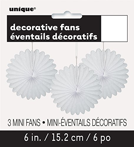 """Mini Tissue Paper Fan Decorations, 6"""", White, 3 Count"""