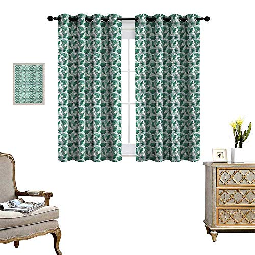 - Anyangeight Banana Leaf Room Darkening Wide Curtains Monstera Areca and Fan Palm Leaves in Green Artistic Natural Pattern Decor Curtains by W63 x L72 Jade Green White
