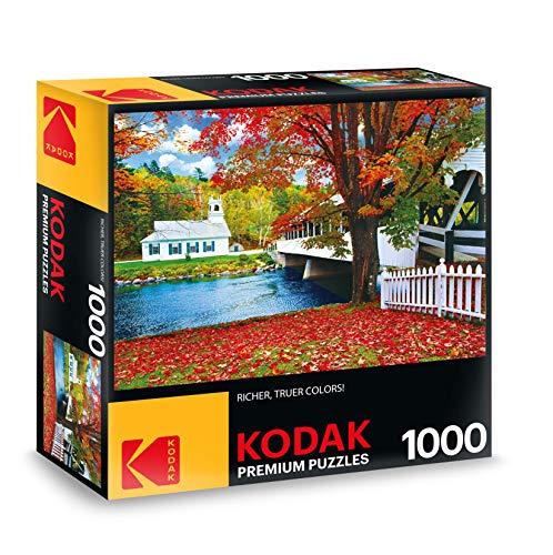 KODAK Premium Puzzles Covered Bridge Crossing River to Church, Stark New Hampshire Jigsaw - Jigsaw Premium