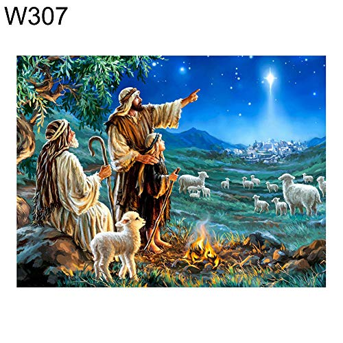 loinhgeo-30x40cm Nativity Jesus Cross Stitch Craft DIY No Frame Wall Decoration Gift Mosaic Full Round Diamond Painting - W307