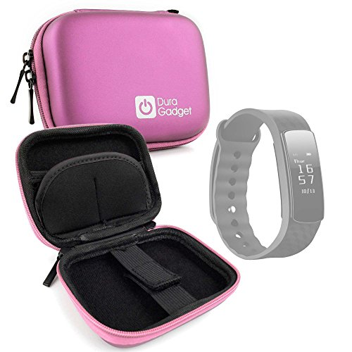 DURAGADGET Pink Hard EVA Shell Case with Carabiner Clip & Twin Zips for the Mpow Smart Fitness Bracelet 1 by DURAGADGET