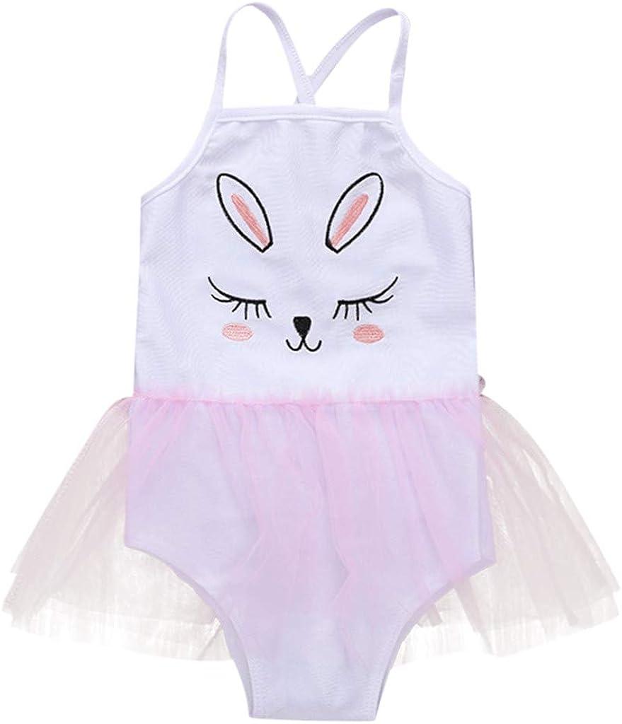 SIN vimklo Baby Girls Embroidered Cartoon Suspender Bikini Beach Swimsuits