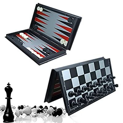 Magnetic Chess Board - DeeBuu 3 in1 Game Set Travel International Chess Checker,Backgammon Educational toys for Kids and adults 12.5 Inches