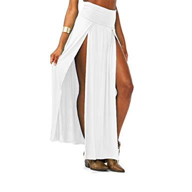 2da0658cd6 Image Unavailable. Image not available for. Color: Style Creek Women's High  Waist Double Slit Maxi Skirt