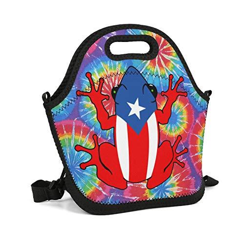 UHOMEW Lunch Bag Lunch Tote Lunch Box Handbag Puerto Rico PR Coqui for Men Women Adults Nurses