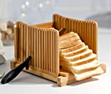 : Kenley Bamboo Bread Slicer for Homemade Bread & Loaf Cakes - Compact, Adjustable, Foldable Slice Box Cutter with Cutting Board and Knife Slicing Guide - Thick & Thin Slices 1/3, 3/8 and 1/2