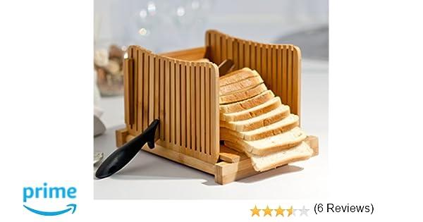 Kenley Rebanadora de Pan - Plegable Cortadora de Pan de Bambú - Manual Máquina para Cortar Sandwich, Tostado, Pastel de Pan, Emparedado: Amazon.es: Hogar