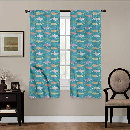 painting-home Blackout Window Curtains Whale, Colorful Silhouettes Room Divider Curtain Screen Partitions for Bedroom and Sliding Glass Door, Set of 2 Panels 42 x 72 Inch