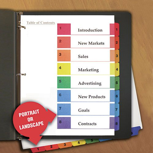 Universal 24802 Table of Contents Dividers, Assorted Color 8-Tab, 1-8, Letter, White, 6/PK ()