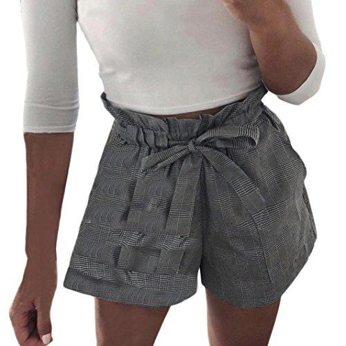 Mamum Shorts Femmes Ray Short de Jambe Large Pantalon Courte Taille Haute t Casual Nouveau Pantalons de Plage (Gris, S) L