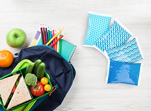 Ice Pack for Lunch Boxes - 4 Reusable Packs - Keeps Food Cold – Cool Print Bag Designs - Great for Kids or Adults Lunchbox and Cooler by Thrive (Image #8)