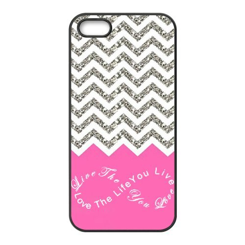 Design For You Colorful Chevron Pattern Live the Life You Love, Love the Life You Live APPLE IPHONE 5 Rubber Cover Case Without Glitter (Feathers Form And Function)