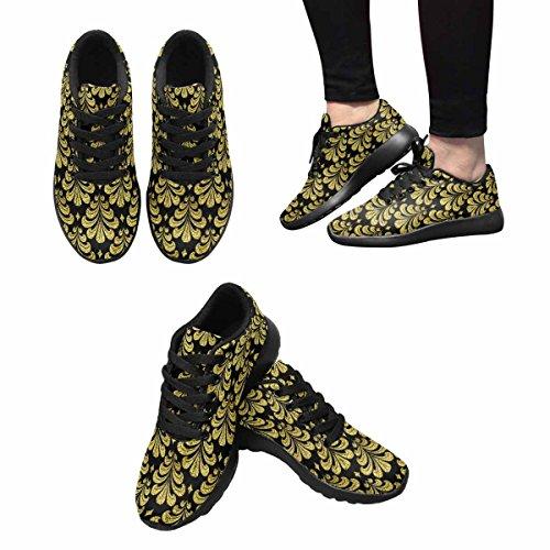 Interestprint Chaussures De Course De Trail Jogging Sport Léger Marchant Athlétisme Or Damas Motif Multi 1