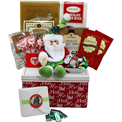 Santa's Sweets Christmas Cookie and Holiday Candy Care Package Gift Box (Xmas Cookie Gift Baskets)