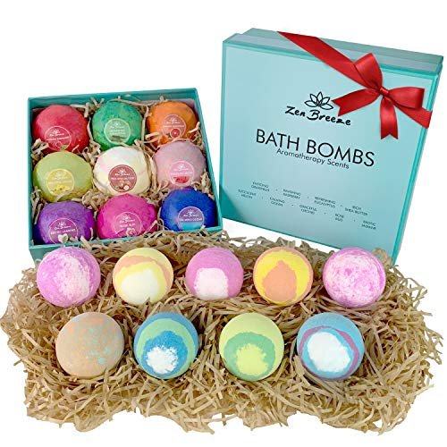 ZEN BREEZE Bath Bombs Set - 2X BIGGER Fizzies for Irresistibly Touchable, Silky Soft Skin & Soothing Stress Relief - Vegan, Premium Bathbombs 9 Pack Gift for Women, Girls and Men - Won't Stain