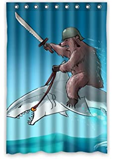 Bear With Riding Shark Never Stop Dreaming Waterproof Bathroom Shower Curtain 48 X 72