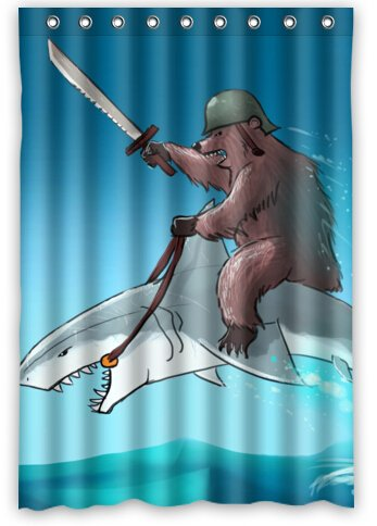 Bear With Riding Shark Never Stop Dreaming Waterproof Bathroom Shower Curtain 48quot
