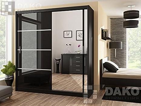 Puerta corredera de armario con espejo 150 cm, anchura VISTA color negro por DAKO: Amazon.es: Hogar
