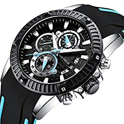 Men's Chronograph Analog Quartz Watch with Date Business Waterproof Silicone Strap Casual Dress Wrist Watches