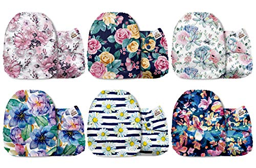Mama Koala One Size Baby Washable Reusable Pocket Cloth Diapers, 6 Pack with 6 One Size Microfiber Inserts (The Flower Cart)