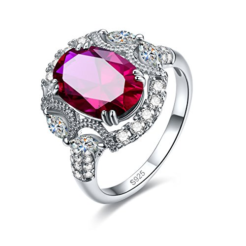 (Merthus Promise Ring 925 Silver Vintage Big Lab-Created Ruby Fashion Knuckle Band)