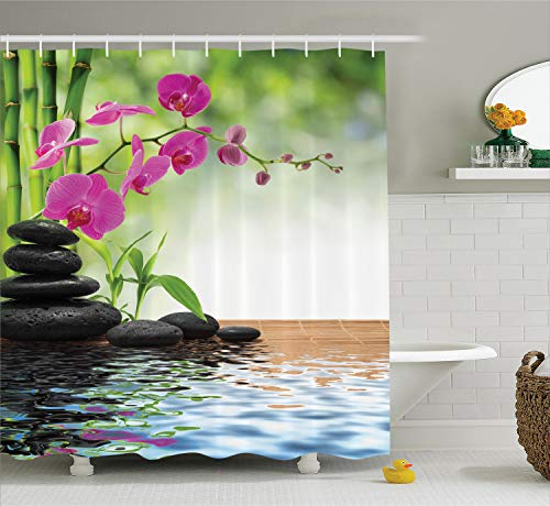 (Ambesonne Spa Decor Curtain, Composition Bamboo Tree Floor Mat Orchid and Stones Wellbeing Greenery Image Pattern, Polyester Fabric Bathroom Decor Set with Hooks, Green Dimgray)