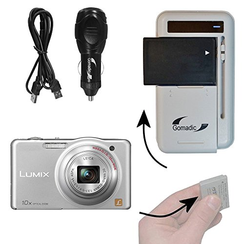 Gomadic Compact Multi External Battery Charge System designed for the Panasonic Lumix DMC-SZ3W. USB, Car and Wall charging connections by Gomadic