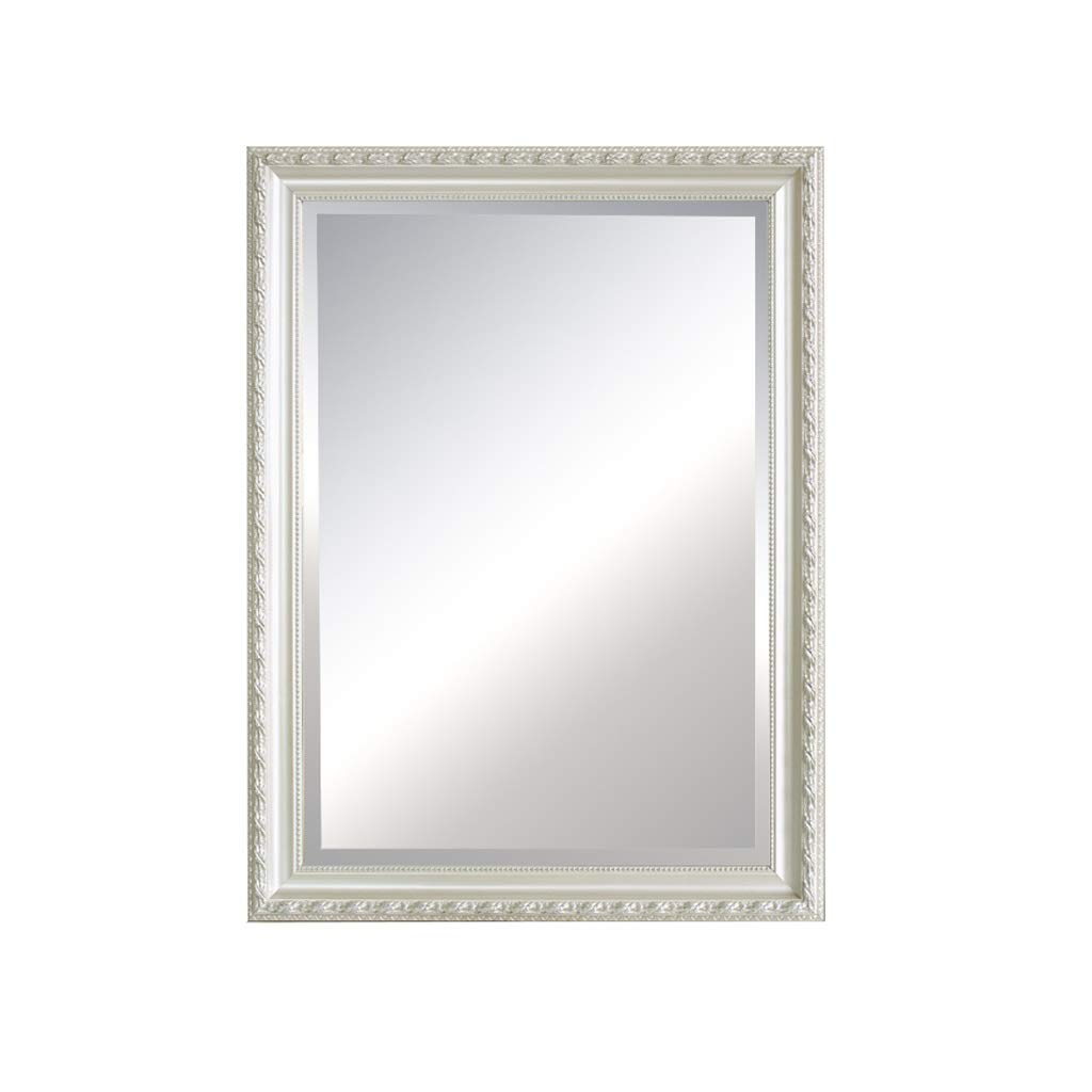 Wall Mounted Mirror,Bathroom Vintage Rectangle Wood Carved Frame Mirror,Ornate Modern Home Bedroom Restroom Vanity Decorative Large Bevelled Mirror (Size : 17.7in23.6in)