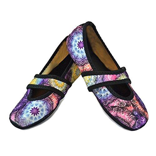 Nufoot Women's Betsy Lou Fuzzies Slipper Socks, Large, Kaleidoscope